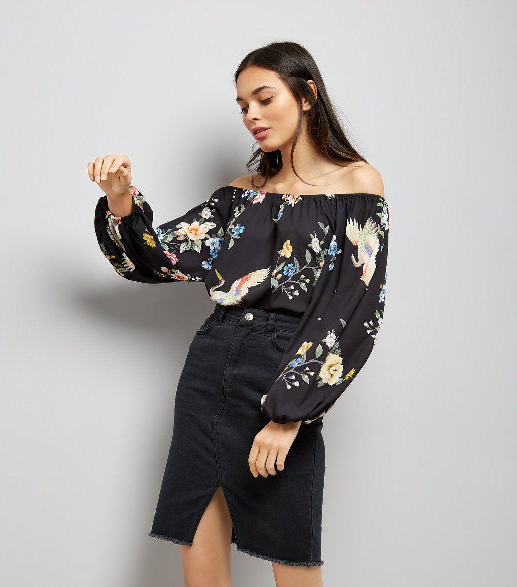 black-floral-print-bardot-neck-loose-bodysuit