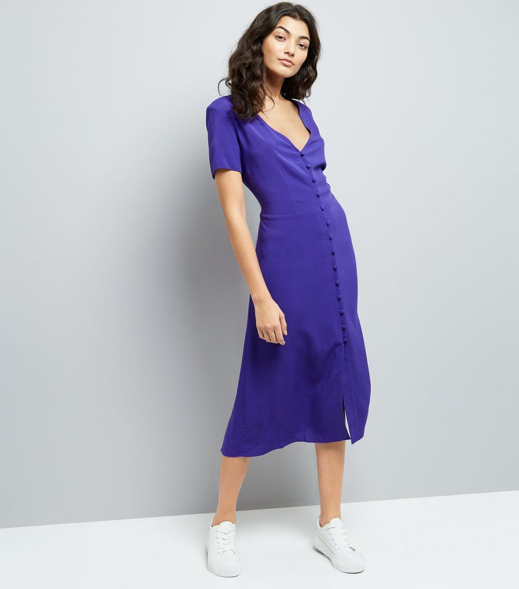 purple-v-neck-button-front-midi-dress