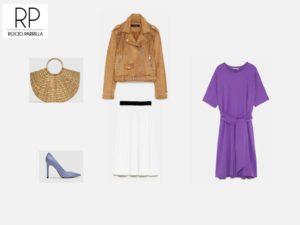 cazadora camel zara, vestido violeta zara, zapatos lavanda zara, bolso cesta zara, falda blanca zara