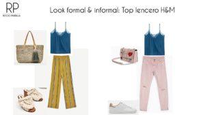 rentabiliza tu armario, top lencero azul, pantalones rosas, pantalones mostaza, zuecos blancos, cesta de moda 2018, zapatillas blancas, bolso rosa